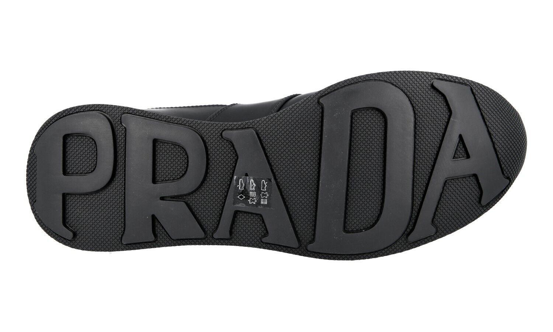 LUSSO Scarpe Prada scarpe da ginnastica 4e3341 Nero in Pelle Pelle Pelle Rivestimento in gomma + NYLON 11,5 45,5 46 | Aspetto estetico  aaf64f