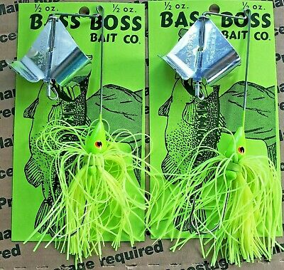 1//2 OZ BASS BOSS BUZZ BAIT SILVER BLADE AND CHARTREUSE SKIRT BUY TWO