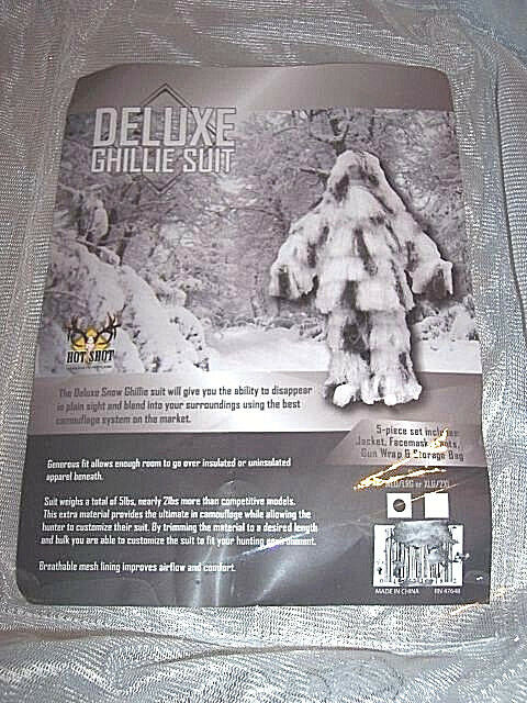 Sniper Suit Snow Camo Ghillie Suit M L 5 Piece Deluxe Ghillie Suit & Gun Wrap