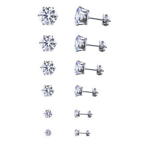 Stainless-Steel-Round-Womens-Stud-Earrings-Cubic-Zirconia-Inlaid-3mm-8mm-6-Pairs