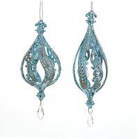 T1880 Set/2 5.75 Blue W/silver Glitter W/clear Drop Finial Christmas Ornament