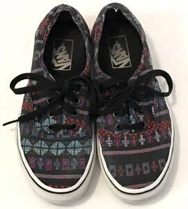 6e4d41a6ef540d Vans Authentic Skater Shoes Women s 7 Men s 5.5 Black Aztec Tribal ...