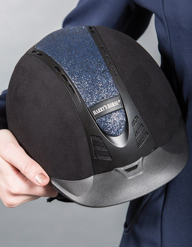 HH Reithelm Reitkappe C.A.P. black VG1.01 mit blueer wechselbarer Blende