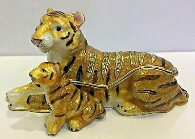 by RUCINNI Tiger /& Cub Jeweled Trinket Box with SWAROVSKI Crystals