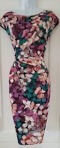 Mujeres-Phase-Eight-Multicolor-Mariposa-Floral-Vestido-Ocasion-Drapeado-reunidos-8