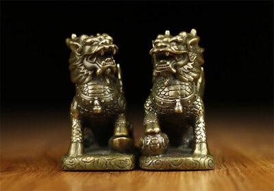 Chinese Folk Culture Handmade Brass Bronze Statue Kirin Sculpture