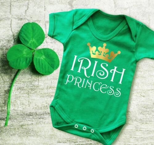 Irish Princess Baby/'s  St Patrick/'s Day Irish green baby grow bodysuit vest