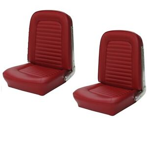 Front Bucket Seat Upholstery Red Sierra Vinyl 1964 1965 Mustang All