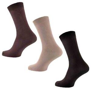 3-Pairs-Mens-Plain-Stay-Up-Chocolate-Mocha-Beige-100-Cotton-Socks-UK-Size-6-11