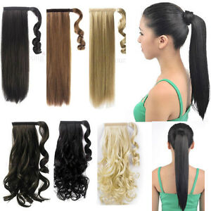 UK Real Thick Women Lady Wrap Around Clip in Ponytail Hair ... 478fdd889