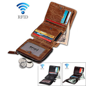 b84ab47504c3d Men s RFID Blocking Leather Wallet Slim Outer Card Slot Thin Trifold ...