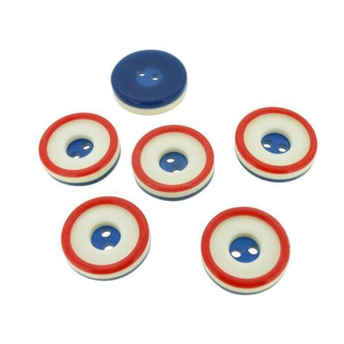 Lot de 6 Vintage rouge blanc bleu en plastique Boutons 18.5 mm 19 mm Boutons Design classique