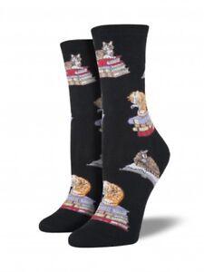 Socksmith Womens Fun Novelty Crew Socks Unicorn Black Purple Cotton Blend New