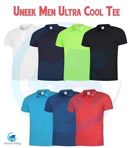 Para-Hombre-Deporte-Poloshirt-Uneek-UC125-Ultra-Cool-Transpirable-Gimnasio-Correr-Camisa-Polo-T