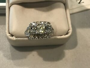 Signed 14KT GE Amethyst Clear Rhinestone Ring Size 6 12