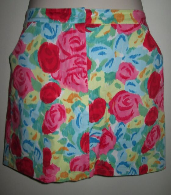 TALBOTS Stretch FLORAL SKIRT 14 Knee Length COTTON BLEND