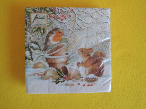 20 Serviettes hiver écureuil Rouge-gorges Robin Oiseau Animaux 1 boîte neuf dans sa boîte