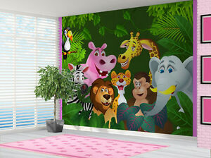 Cartoon Jungle Animals Wallpaper wall mural kids bedroom 14320788
