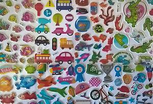 Childrens-kids-stickers-5-sheets-Fun-bright-n-puffy-4-TREATS-PARTIES-REWARDS