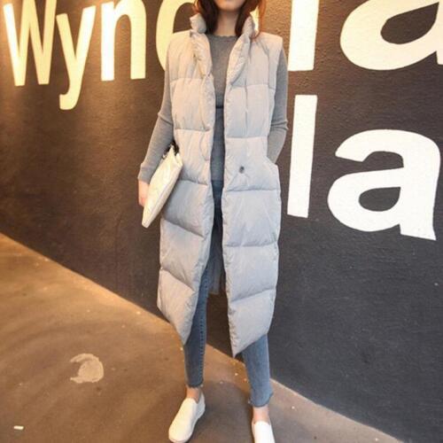 Women/'s Warm Parka Down Cotton Puffer Student Coat Jacket long Vest Sleeveless