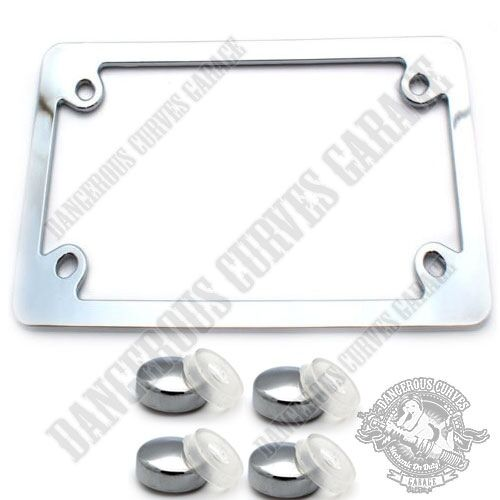 Show Chrome Metal Flat Edge Motorcycle License Plate Frame Touring Free Caps