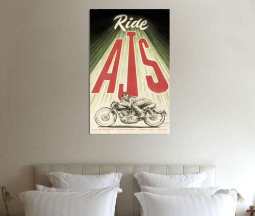 AJS Motorcycles 30x20 Inch Canvas Motorcycle Classic Poster Print