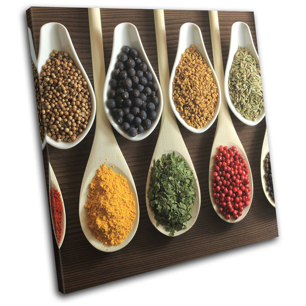Spices Indian Herbs Cooking Food Kitchen SINGLE TOILE murale ART Photo Print
