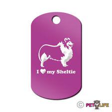 I Love My Sheltie Engraved Keychain GI Tag dog profile v2 shetland sheepdog