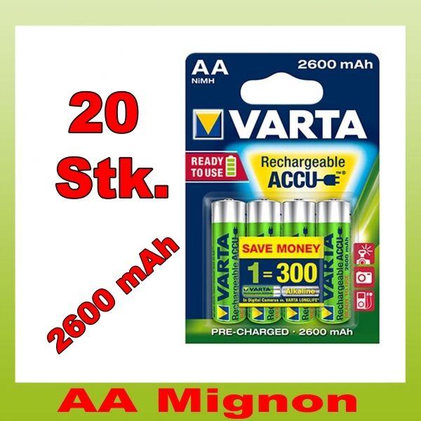 20 Stk. Varta Mignon AA Akku ready2Use 2600 mAh im 4er Blister 20x