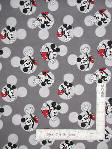 Disney-Mickey-Mouse-Ears-Logo-Gray-Cotton-Fabric-Springs-CP66421-By-The-Yard