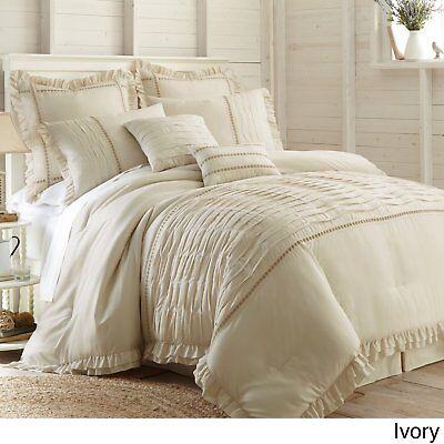 Cream Sand Farmhouse 8 Piece Comforter Set Beige Tan Shabby Bedding Queen King Ebay
