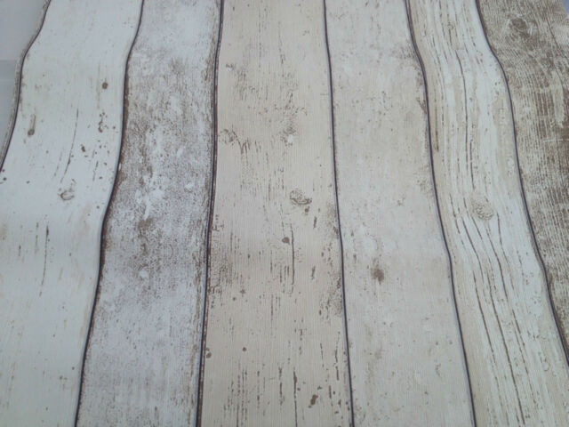 Realistic Shabby Chic Light White Cream Wood Distressed Panel Effect Wallpaper