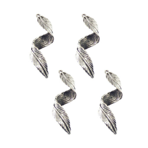 10 pcs Antiqued Silver Alloy Curly Leaf Craft Charms Pendants Findings 43x15x9mm