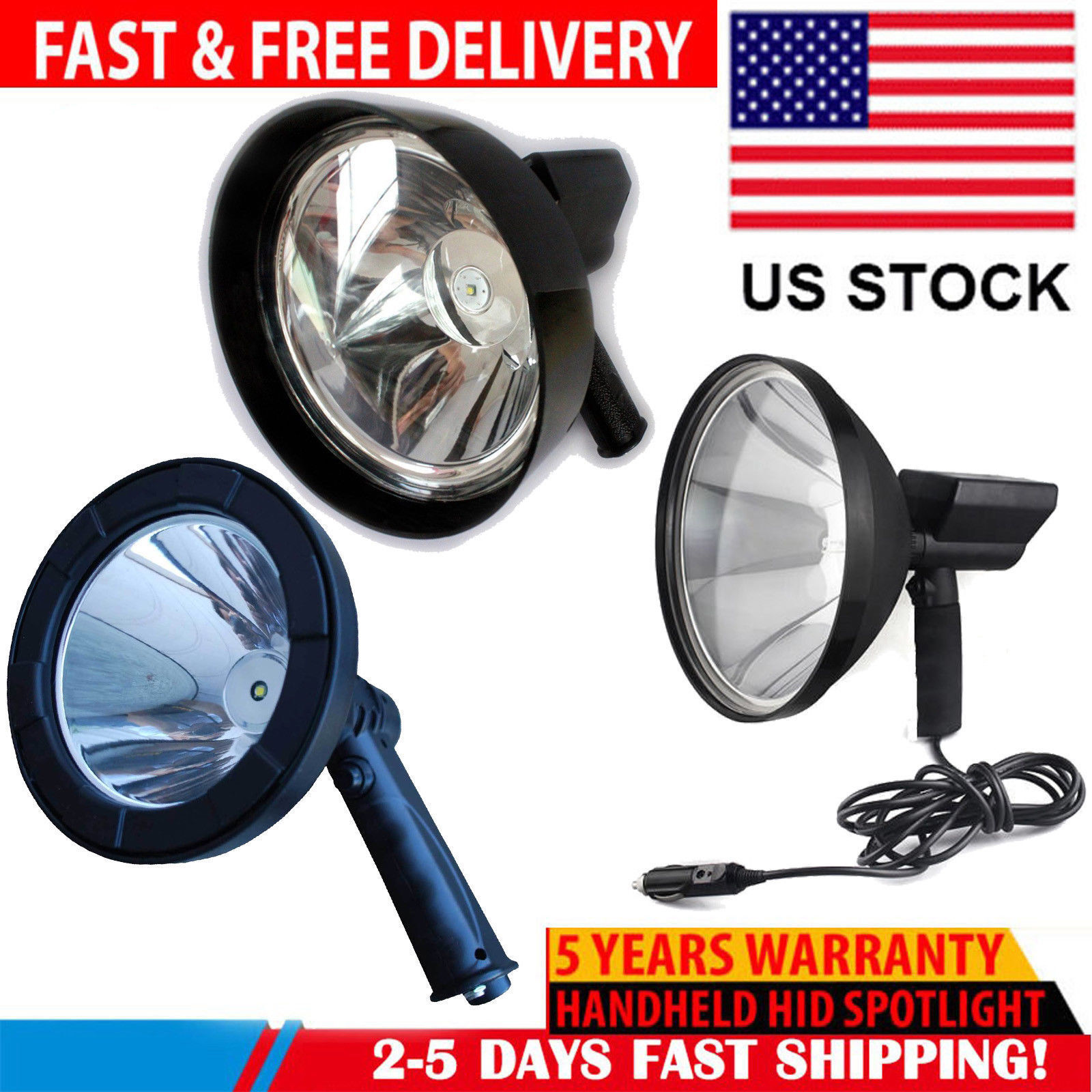 1200 Watt Waterproof LED HID Spotlight Handheld Camping Boating Flashlight Light