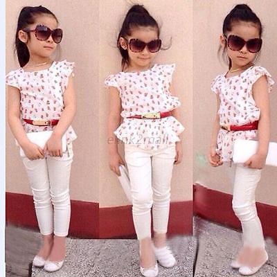 3Pcs Baby Girls Short Sleeve T-shirt+Pants+Belt Set Clothes Kids Summer Outfits