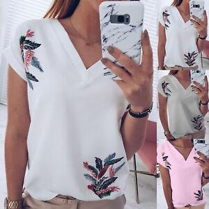 Summer-Womens-Floral-V-Neck-Short-Sleeve-T-Shirt-Comfort-Loose-Beach-Blouse-Tops