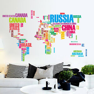 Large colour words world map wall sticker vinyl decals removable diy image is loading large colour words world map wall sticker vinyl gumiabroncs Image collections