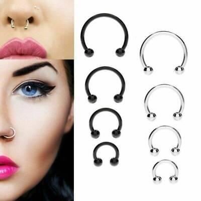 10pcs Stainless Steel Horseshoe Bar Lip Nose SeptumEar Ring Stud Piercing Set uf