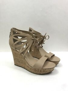 10 Tan Ivanka Leather Wedge Cork M Size Trump Sandals Womens r8q87wBp1g