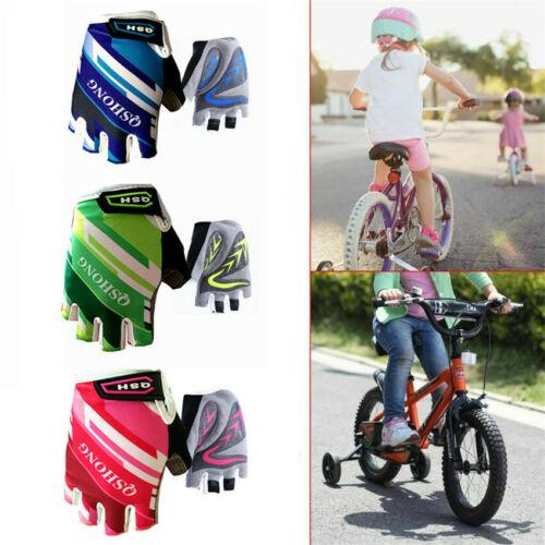 Cycling Gloves Kids Boys Half Finger Bike Mountain Riding Children Pad Grip Set