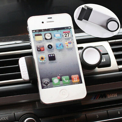 White Rotate Retractable Car Air Vent Mount Stand Clip Holder Bracket For iPhone