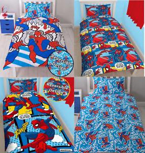 New Spiderman Superhero Reversible Duvet Cover Quilt Bedding Set