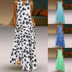 Damen Sommer Böhmische Kaftan Maxi Kleid Casual Vintage Daisy langes Kleid UK 8-22