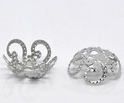 500 Silberfarbe Blume Perlen Beads Ende Kappen 10x4mm