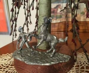 Details about Vintage 1982 Spoontiques Pewter Cowboy Western Horse Rodeo  Figurine 3 3/4 by 2