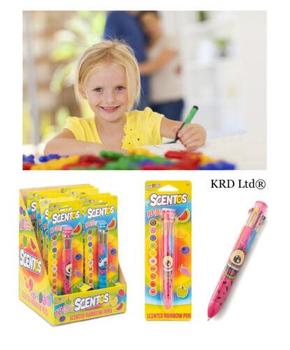 Kids scentos ARCOBALENO COLORI Penna Retrattile PROFUMATO CANDY frutta gioco giocattolo premi
