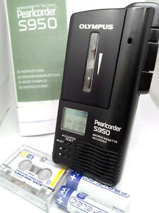 Olympus-Pearlcorder-S950-MicroCassette-Voice-Recorder-Dictaphone-Dictation-BLACK