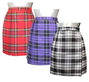 Womens Pleated Wrap Over Tartan Skirt Ladies Buttoned 18 Inches Dress Plus Size
