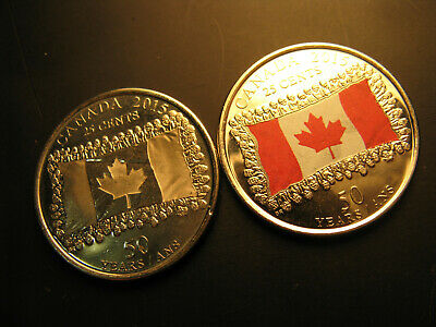 2015 Canada 25 cents X 2-50th Anniversary of the Canadian Flag BOTH VERSIONS!