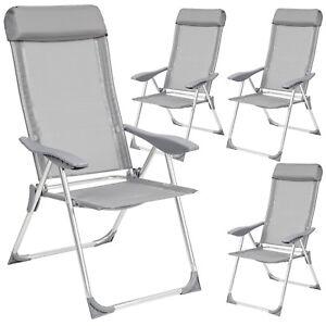 Set-di-4-alluminio-sedie-da-giardino-pieghevole-poltrona-campeggio-grigio-nuovo